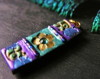 Ornate Flower and Vine Art Nouveau Pendant in Purples and Blues
