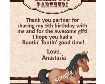 Printable DIY Cowboy Cowgirl Horse  or ANY THEME Birthday thank you Custom Personalized card  Digital File, diy Printable File