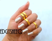 Gold Midi Rings,4 Bright Gold Smooth Band, Sale Above Knuckle Ring, Adjustable Finger Ring, Stacking rings, Edgysheeq statement rings