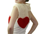 Red Heart Creme Scarf - Women Teens Accessories - Fall Winter Fashion - Neutral