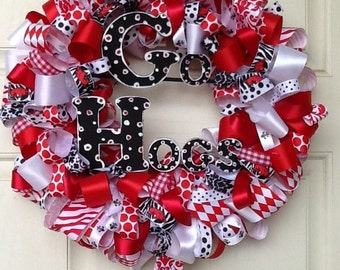Polka Dot Razorback Ribbon Wreath- ribbon wreath housewares home door decor Razorback hogs  wreath polka dot