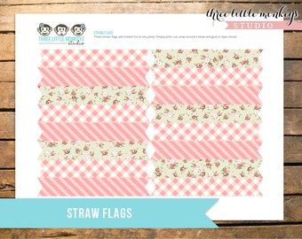 Vintage Pony Party Straw Flags INSTANT DOWNLOAD
