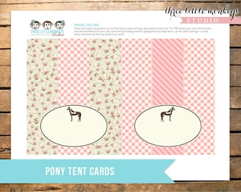 Vintage Pony Party Food Labels Tent Cards INSTANT DOWNLOAD
