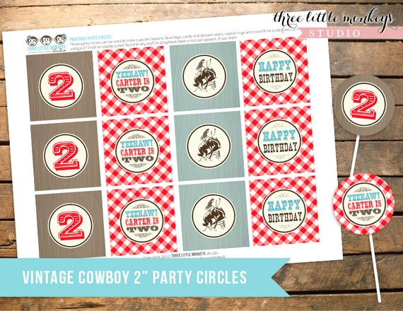 Personalized Vintage Cowboy Party Circles - Cupcake Toppers, Gift Tags, Favor Tags and More
