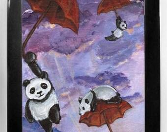 Giant Panda Art, Red Umbrella Print, Kids Bedoom Wall Art, Purple Sky, Panda Bears, Nursery Decor, Custom Size, Cute Baby Animals