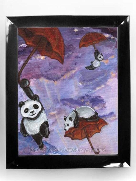 Giant Panda Art Print, Red Umbrella, Kids Wall Art, Purple Sky, Panda Bears, Nursery Decor, Any Size