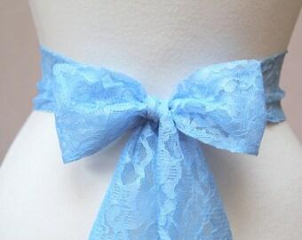 Light Blue Lace Wedding Simple Sash/ Flower Girl Sash/  Handmade Accessory