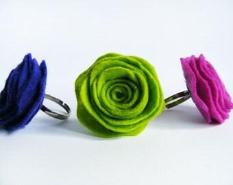 Felted Rose Adjustable Rings - Spring Rose Rings - Lime Green Ring - Magenta Ring - Dark Purple Rose Ring - Flower Ring - Statement Ring