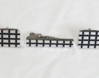 Silver and Black Cuff Links and Tie Bar Set - Vintage
