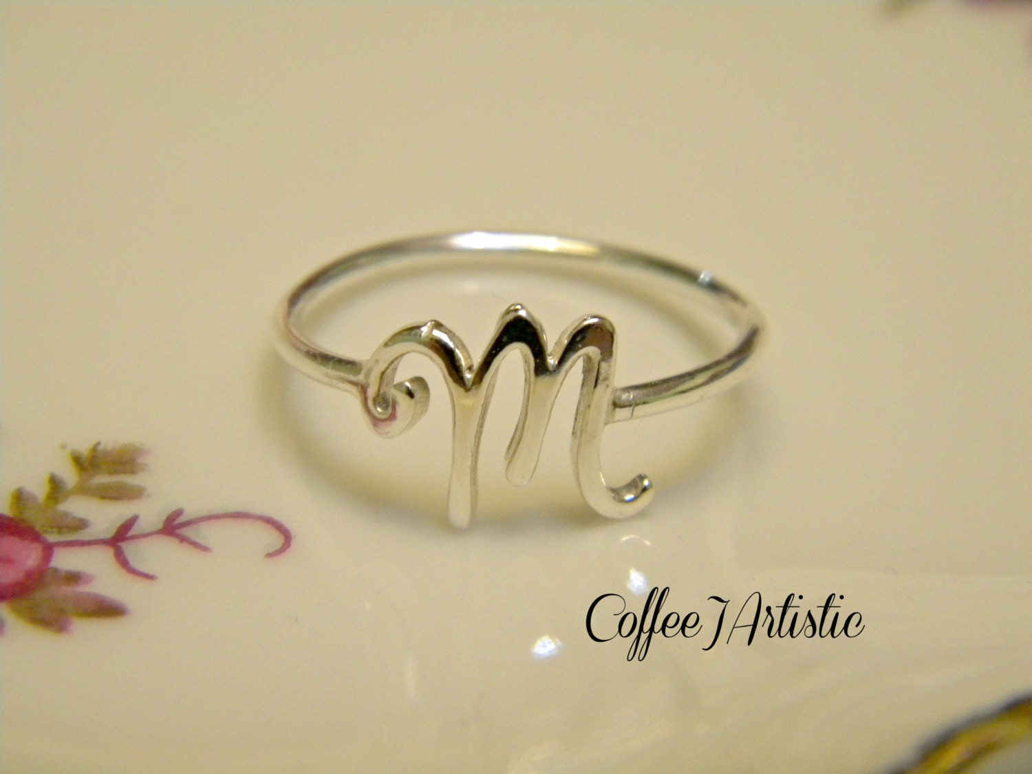 M Letter In Ring Handcrafted Sil...