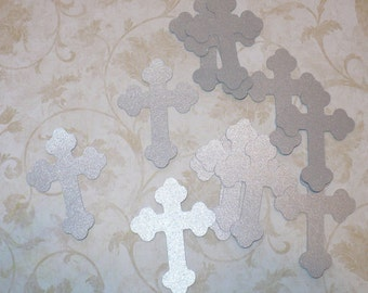 12 pcs Silver Cross Die Cuts Made from Cardstock