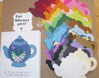 38 Embossed Teapots Die Cut pieces made from Sizzix die cut from Rainbow color cardstock paper