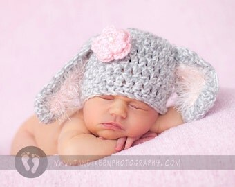 READY Baby Girl Hat -  Baby Bunny Hat  - Baby Hat Grey & White with Fuzzy Pink Ears and Pink Flower with Pearl Center