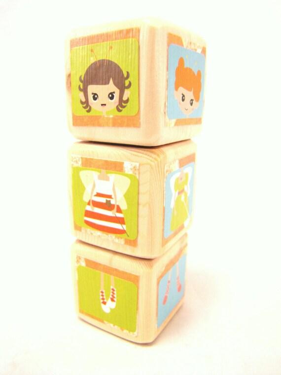 SALE - Baby blocks. Kawaii Cute. Girl Birthday gift. Orange. Children. Kids. Toddler. wood blocks. Under 20 gift