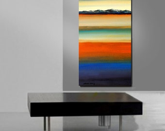 ORIGINAL PAINTING Abstract Modern Verticle Impasto Textured Large 24x48 Fine Art by Thomas John