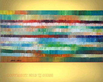 ABSTRACT ORIGINAL Painting Acrylic Impasto Large 24X48  Modern Fine Art By Thomas John