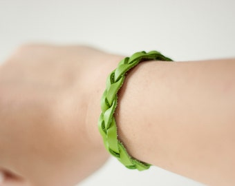 Braided Leather Bracelet / Spring Green