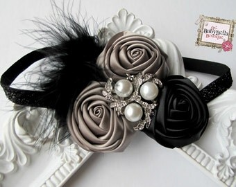 Grey and black  Rosettes  Headband with rhinestone accent and feathers- Newborn / Baby Girl Toddler - Great Photo Prop