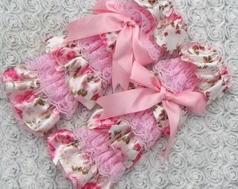Vintage Floral Light Pink With Bow  pink lace and satin Girls Leg Warmers