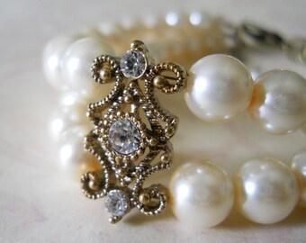 Crystal Bridal Bracelet Gold Wedding Jewelry Vintage Style Bridal Jewelry Gold Crystal Bracelet Gold Wedding Bracelet Crystal Pearl Jewelry
