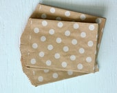 CLEARANCE - 25 Small Kraft Polka Dot Paper Bags, 2.75 x 4 inches