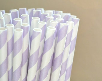 50 Light Purple Stripe Straws, Made in America