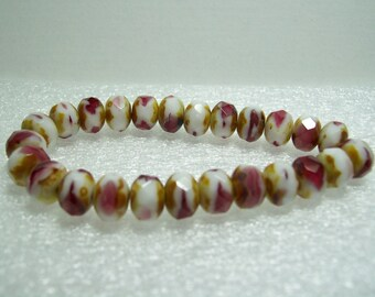 Czech Beads - Fuchsia and White Picasso Rondelle Beads - Full Strand - 25 Beads 8x6mm