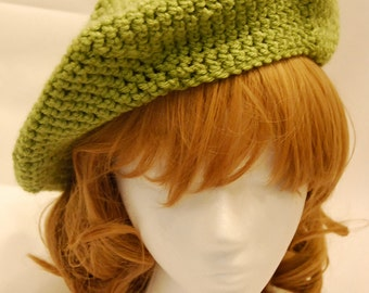 Crochet Green Apple Beret - Ready to Ship