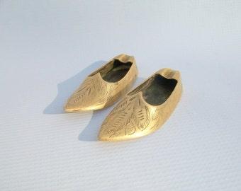 Vintage Petite Brass Shoe Ashtrays