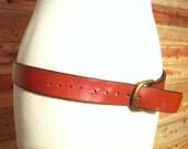 Vintage Brown Leather Belt- Western Leather Belt, 1990s Equestrian Chestnut Brown Belt