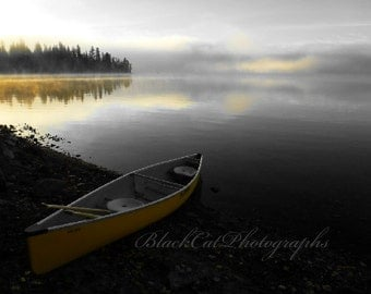 Boat Art Lake Photo Landscape Photography Canoe Summer Holiday Dream fog lake house wall art 8x12 Art Canadian photo print nature photograph