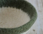 Felted Bowl - White and Sage Green
