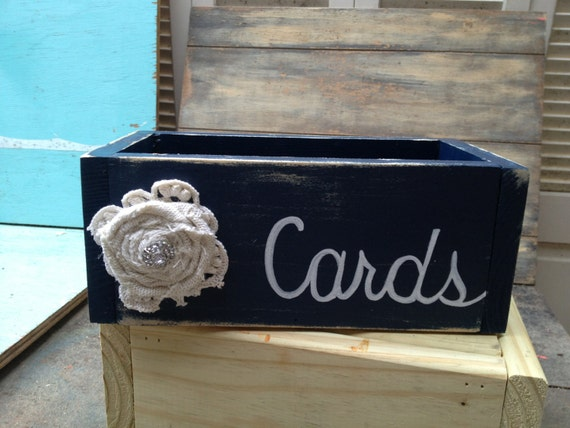Rustic Navy Blue And White Wedding Cards Box With Burlap
