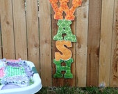 Laundry Kitchen Decoration, wash banner decor, bathroom or kitchen accent, cleaning wall hanging, orange and green