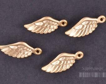 P304-01-MG// Matt Gold Plated Angel Wing Pendant, 4pcs