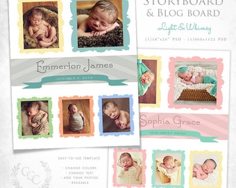 16x20 Storyboard and Blog Board Template Photography Design- Light & Whimsy
