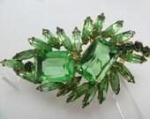 DeLizza Elster Juliana Pin Book Piece Big Green Stones Brooch