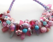 Pink and Turquoise Bead Party Beaded Necklace OOAK including handmade lampworked glass beads