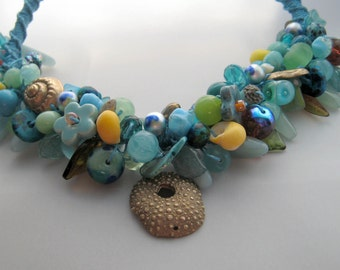 Turquoise and gold Bead Party Beaded Necklace OOAK including handmade lampworked glass beads