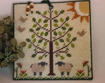 CD or DVD Gift Holder of Tree of Life and  sheep  Needlecraft
