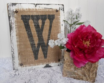 Family letter name wedding sign, b.n,c,a,d,f,g,h,e, or your letter burlap monogram cottage style