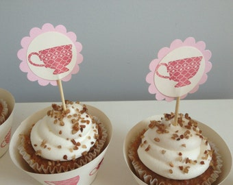Paper Party supplies-tea party theme, 6 ivory and pink hand stamped teacup party cupcake toppers