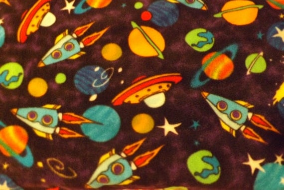 Fleece fabric bty multi colored space ships and by for Space flannel fabric