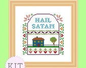 KIT Cross Stitch Hail Satan Sampler