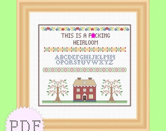 INSTANT DOWNLOAD Cross Stitch Sampler Pattern PDF funny mature
