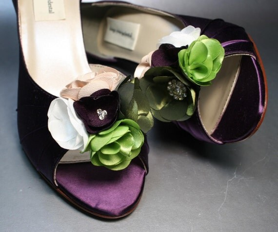 Wedding Shoes Plum Peeptoes With Plum Green Ivory And