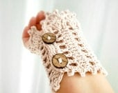 Crochet cuff, coconut buttons beige and brown colors Mom day gift Sepia Pastel cream Kawaii Lolita Victorian