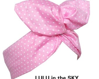 Baby Pink and White Polka Dot tiny Pin Dot wire ROCKABILLY Pin Up Headband Hair Wrap