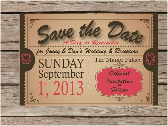 Vintage Save the Date Announcements Printables Personalized