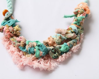 Pastel Fiber Necklace 24''
